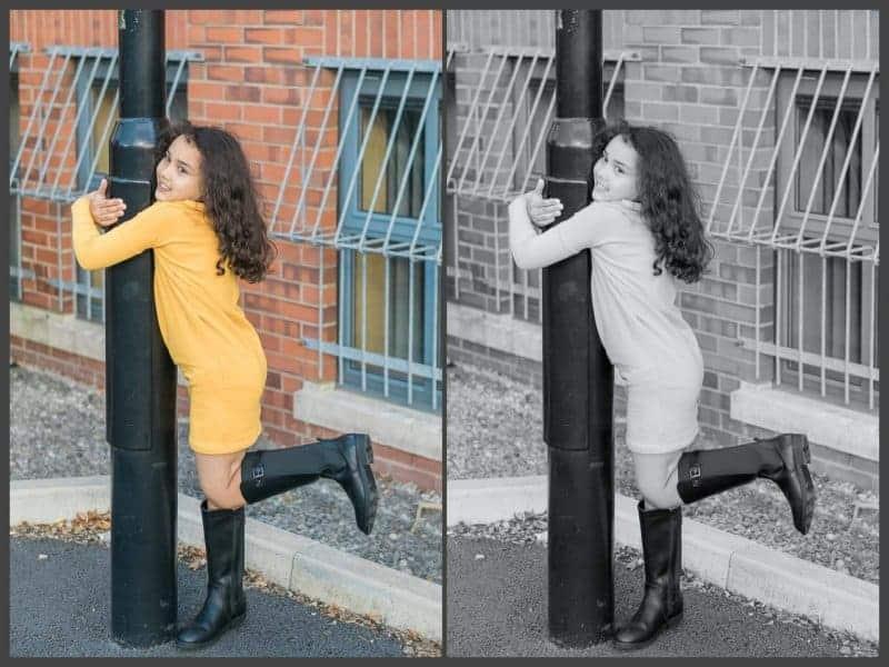 hugging lamppost
