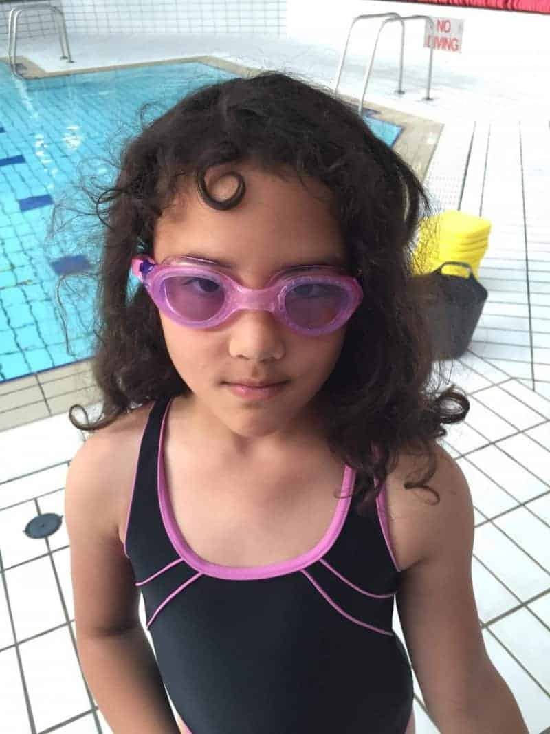 Sylvia with swimming goggles
