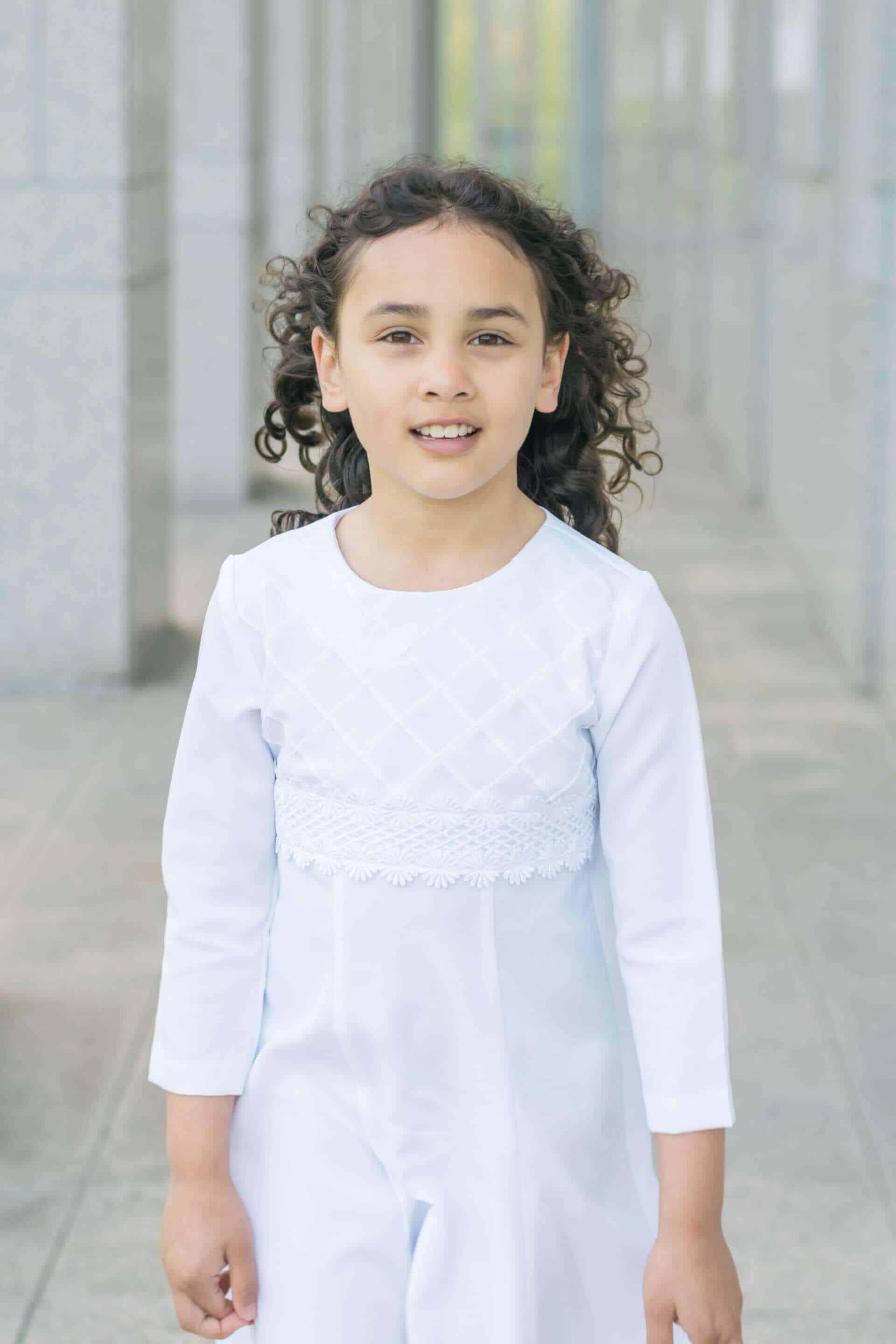 white baptism dress for 8 year old