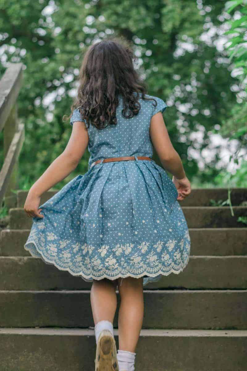 Girls Yumi Dress spotty dress