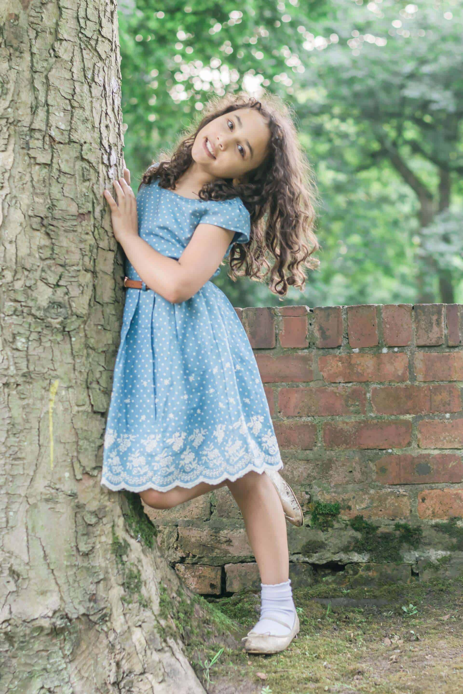 Girls Yumi Dress spotty dress