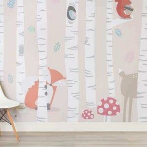 woodland wallpaper for kids nursery room
