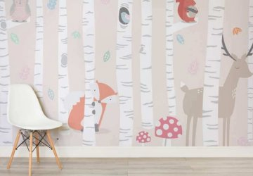 woodland wallpaper for kids nursery room