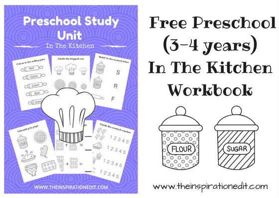 In The Kitchen Free Preschool Work Book For Kids