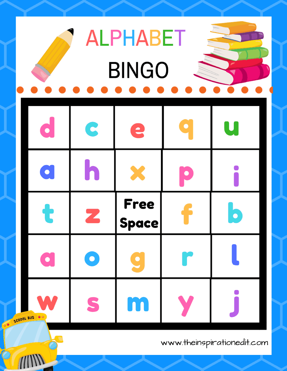 free alphabet bingo printable for kids the inspiration edit. Black Bedroom Furniture Sets. Home Design Ideas