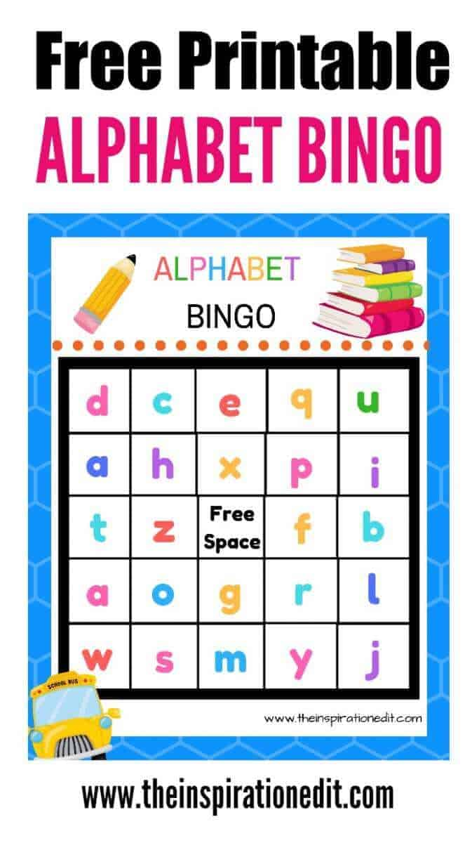 Free Alphabet Bingo Printable For Kids u00b7 The Inspiration Edit