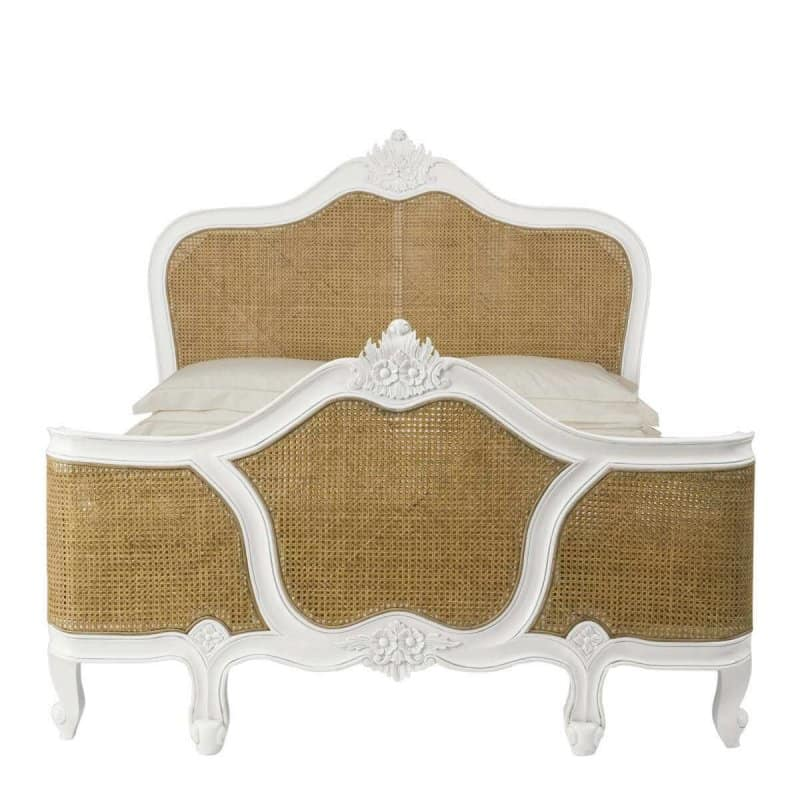 Louis Rattan French White Bed