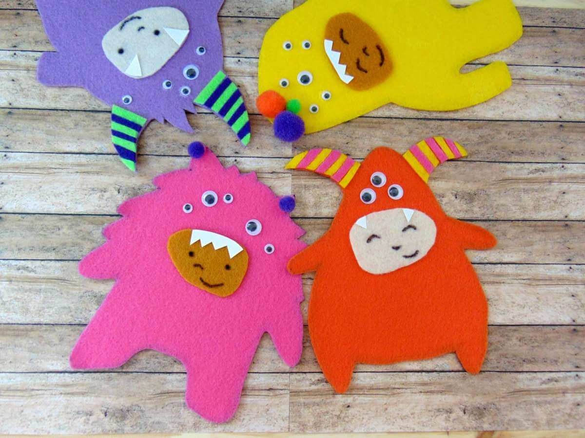 felt monsters craft activity for kids