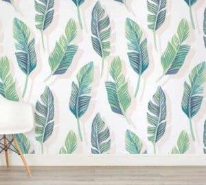 white and green tropical leaf wallpaper