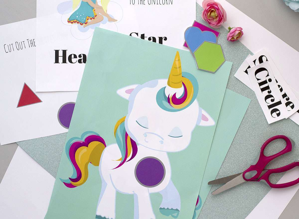 unicorn preschool shapes printable
