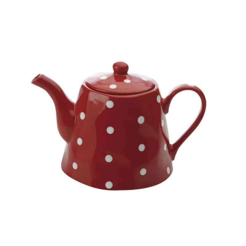 Red and white polka dot teapot