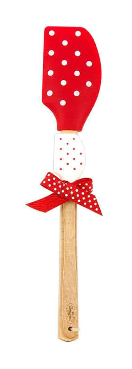 Red and white polka dot spatula