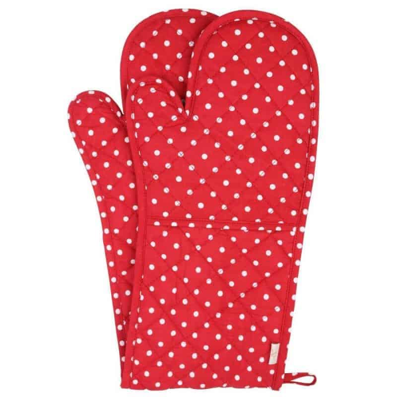 Red and white polka dot kitchen mittens
