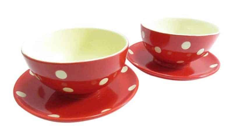 Red and white polka dot kitchen items