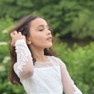 girls ivory flower girl dress