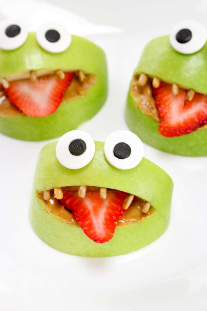 spooky halloween food apple monsters