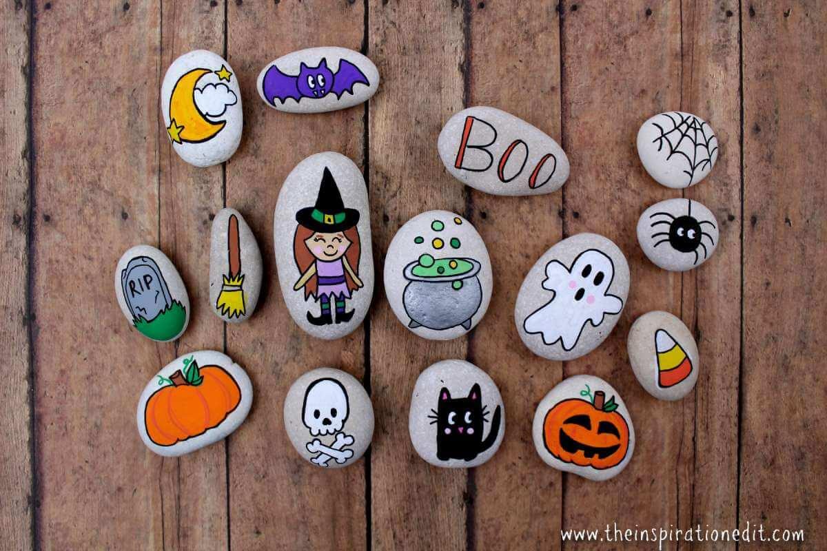 Halloween painted rock stones