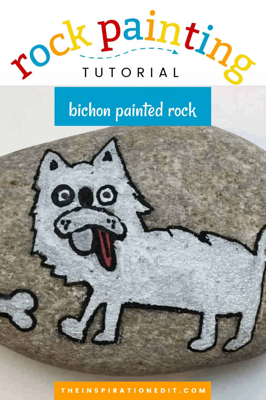 bichon dog painted rocks