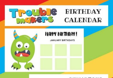 monster birthday calendar