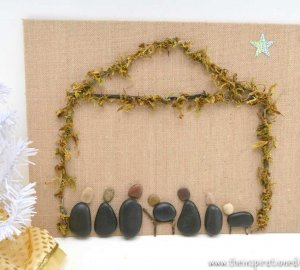 Nativity rock stone craft