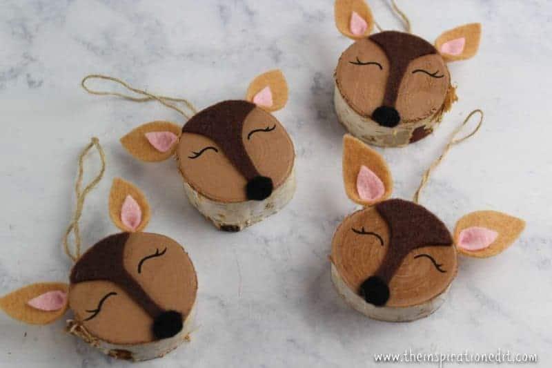 Wooden slice doe craft DIY Christmas Decorations