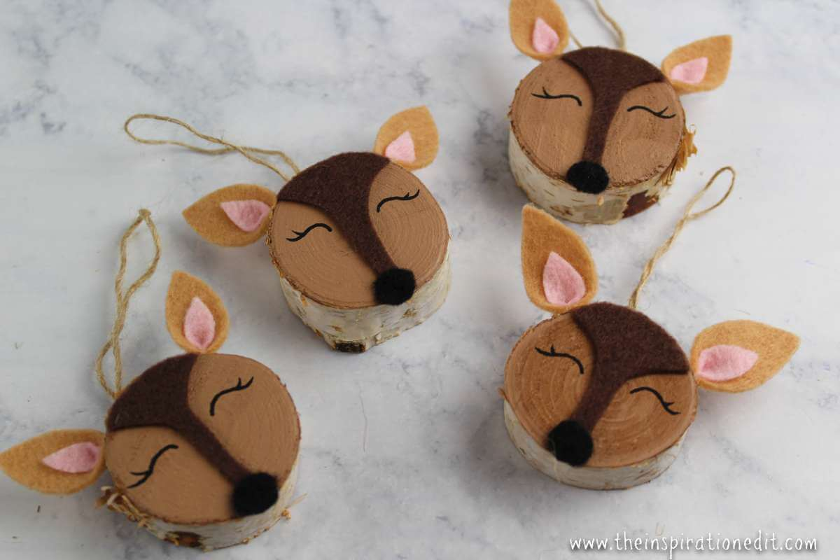 Diy Christmas Decorations Wooden Slice Doe The Inspiration