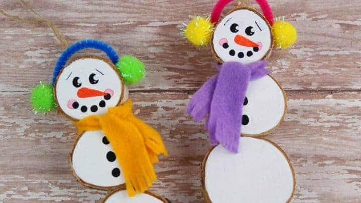 wood slice snowman Christmas craft