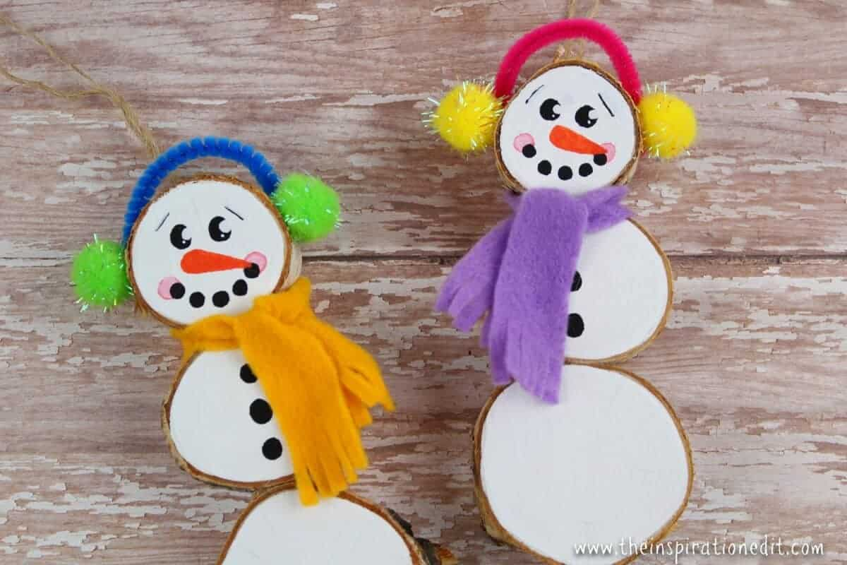 wood slice snowman Christmas craft