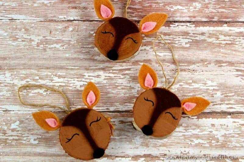 Wooden slice doe craft DIY Christmas Decorations