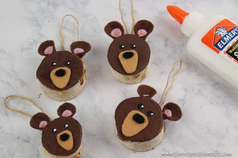 Three Bears Wooden Slice Ornament