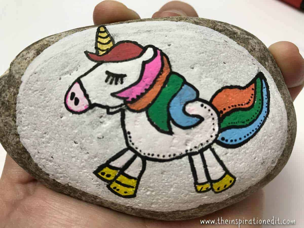unicorn rock painting