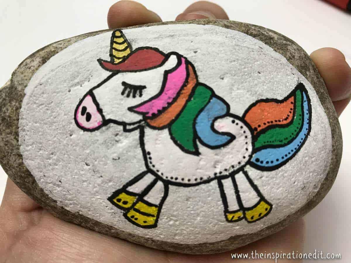 unicorn rock painting