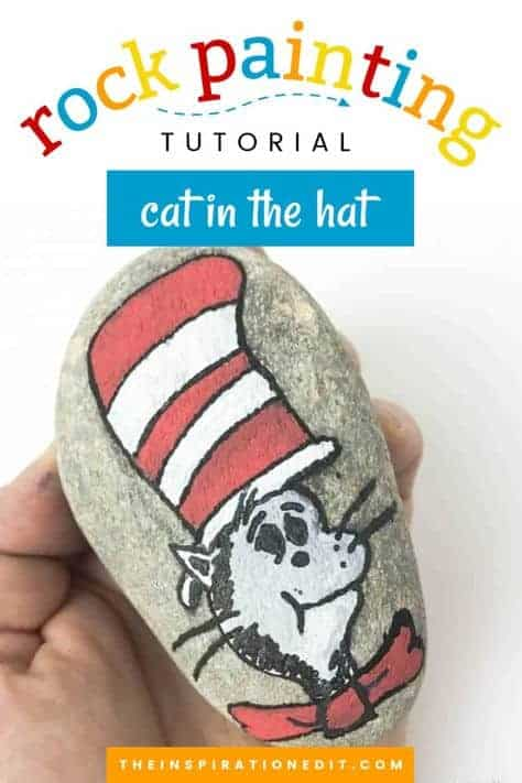 cat in the hat painted rock craft