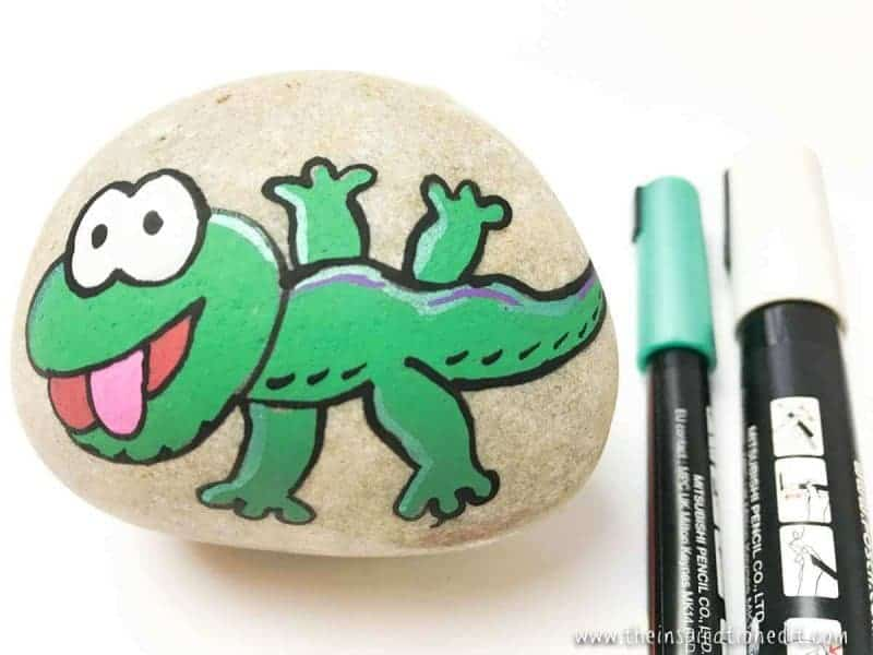 gecko rock stone art for kids
