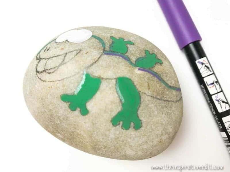 gecko rock stone art for kids
