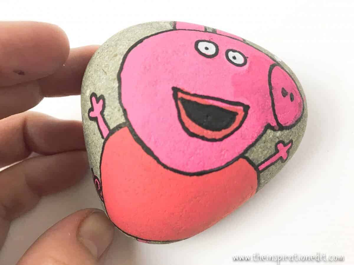 How To Paint Pepper Pig On A Rock The Inspiration Edit