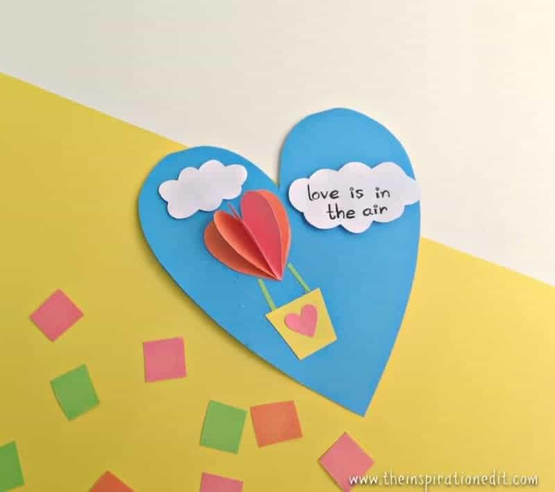 valentines card heart air balloon