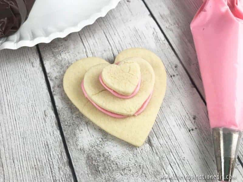 Stacked Heart Valentines heart cookies