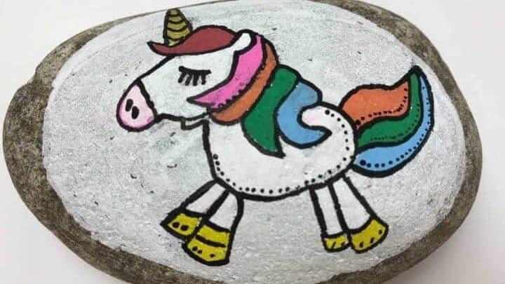 unicorn painted rock stone