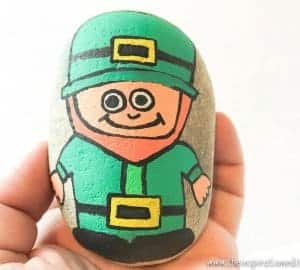 saint patricks rock stone painting