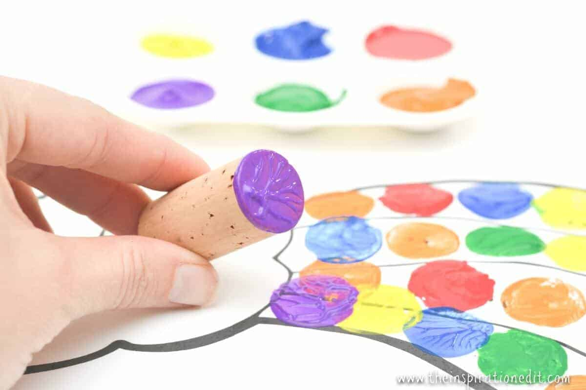 rainbow wine cork craft painting rainbows with kids