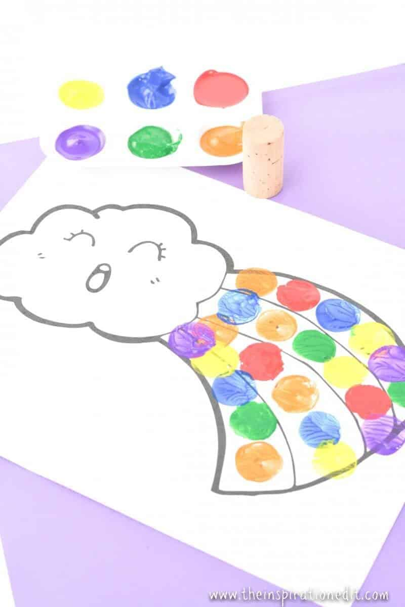 rainbow cork painting painting rainbows activity