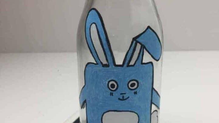 easter bunny bottle art