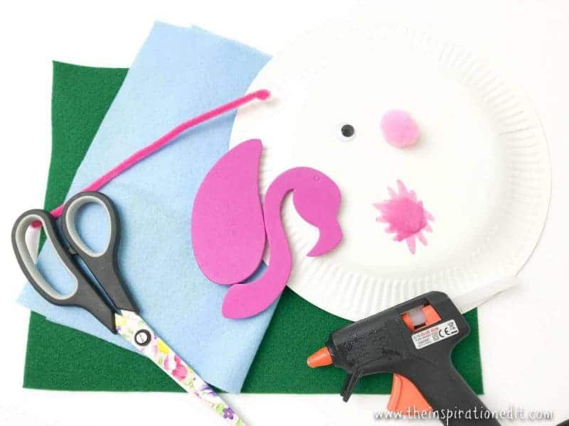 Paper Plate Flamingo Craft supplies