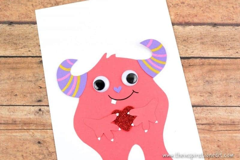 Pink Monster Valentines Card handmade valentines card