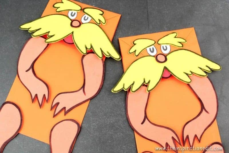 the lorax paper bag puppets
