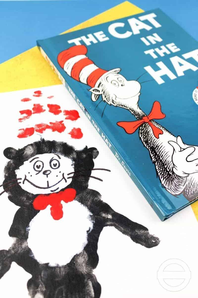 cat in the hat handprint art