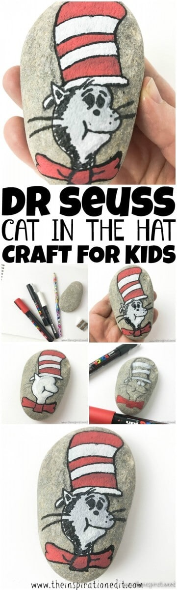 cat in the hat rock painting