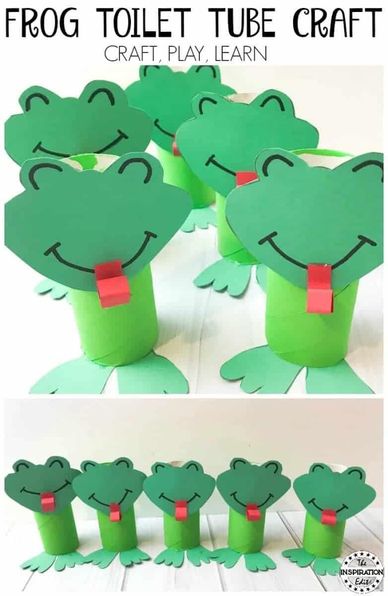 super cute frog craft toilet tube preschool