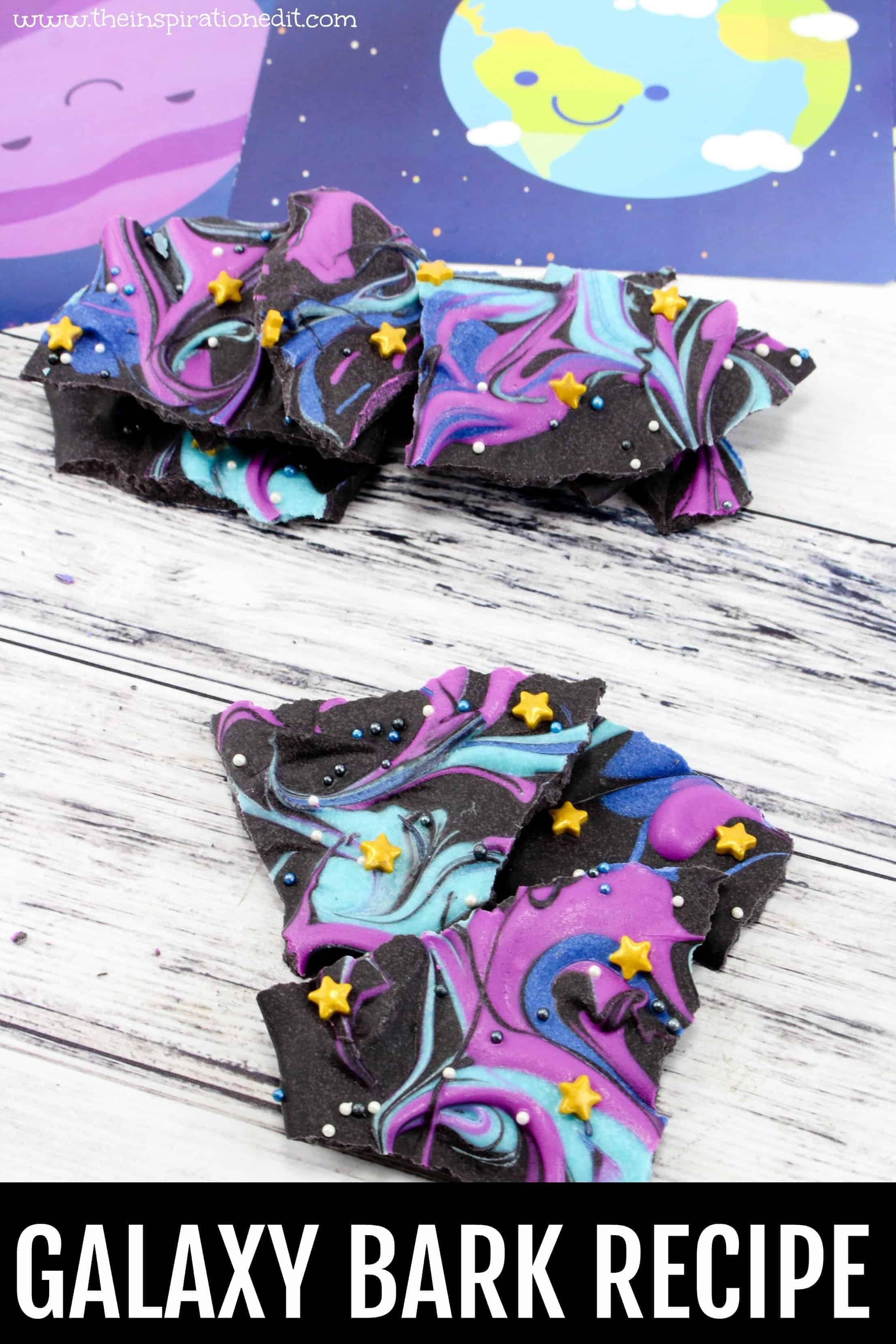 galaxy chocolate bark